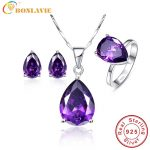 Nature Amethyst Water Drop Shape Bridal Wedding Jewelry Sets 925 Sterling <b>Silver</b> Jewelry <b>Earrings</b> Ring Necklaces Jewelry Set