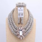3 Layers African jewelry sets Wedding <b>Silver</b> Crystal Beads Jewelry Sets Elegant Nigerian Wedding Necklace Jewelry Set Brand New
