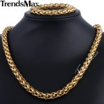 Trendsmax Brand <b>Jewelry</b> Set 9.5mm Gold-color Wheat Braided Link Stainless Steel Necklace Bracelet Mens Girls Chain <b>Fashion</b> KS215