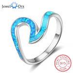 Ocean Style 925 Sterling Silver Wave Shape Blue Opal Stone Finger Rings Women Party <b>Jewelry</b> Best Friend Gift (JewelOra RI102847)