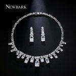 NEWBARK Square CZ <b>Jewelry</b> Sets Silver Color Drop Earrings Choker <b>Necklace</b> Set Noble Bridal Wedding Accessiory Jewellry