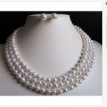 triple strands 9-10mm south sea round white pearl necklace &<b>earring</b>