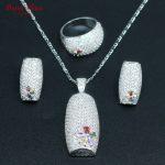 3PCS <b>Silver</b> Color Bridal Jewelry Set Flower Colorful Multicolor Stones Earrings Ring Necklace Pendant <b>Bracelet</b> For Women
