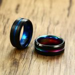 Men's Wedding Band Two Tone 8MM Black Tungsten Carbide Ring for Men Rainbow Grooved on Brushed Center Beveled Edges Male <b>Jewelry</b>