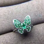 Natural green emerald gem jewelry sets natural gemstone ring Pendant <b>Earrings</b> 925 <b>silver</b> Elegant lovely heart butterfly jewelry