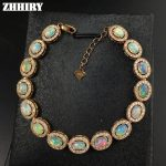 ZHHIRY Natural Opal Gem Stone <b>Bracelet</b> Genuine Solid 925 Sterling <b>Silver</b> Fire Color Women Prom Party Fine Jewelry