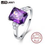 Vintage <b>Jewelry</b> 5.25ct Amethyst 925 Sterling <b>Silver</b> Ring emerald Cut Purple Nature stone Women Wedding Anel Aneis Gemstone Rings