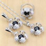 Bridal <b>Jewelry</b> Sets Black Stones With White Beads Silver 925 <b>Jewelry</b> For Women Wedding Earrings/Pendant/Ring/Necklace Set