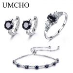 UMCHO 925 Sterling <b>Silver</b> Jewelry Set Natural Sapphire Ring Pendant Stud <b>Earrings</b> For Women Brand Party Fine Jewelry Top Quality