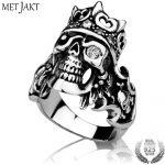 MetJakt 925 <b>Sterling</b> <b>Silver</b> Men's Punk Rock Crown Skull Ring with Zircon & Handmade Ring for Cool Men Biker Gothic <b>Jewelry</b>