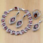 Red Zircon White Cubic Zirconia 925 Sterling <b>Silver</b> Jewelry Sets For Women Wedding Earrings/Pendant/Necklace/Rings/<b>Bracelet</b>