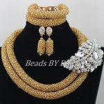 Latest Big Brooch <b>Handmade</b> African Beads <b>Jewelry</b> Set Nigerian Wedding Crystal Necklace Bridal <b>Jewelry</b> Sets Free Shipping ABF524