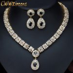 CWWZircons Exquisite Gold Color Round AAA+ Cubic Zirconia Crystal Women Costume <b>Jewelry</b> Sets With Black Zircon Stones T104