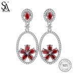 SA SILVERAGE Real 925 <b>Sterling</b> <b>Silver</b> Round Drop Earrings for Women Fine <b>Jewelry</b> Red Flower 2018 New Arrival