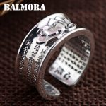 BALMORA 100% Real 999 Pure Silver <b>Jewelry</b> Buddhistic Sutra Open Rings for Women Lover Anniversary Gifts High Quality SY21596