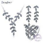 Beagloer New 925 Sterling <b>Silver</b> Vintage Sparkling Leaves Shape Cubic Zirconia Jewelry Sets Wedding Women Accessories PSST0001-B
