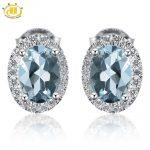 Hutang Trendy 1.573ct Natural Aquamarine Halo Stud <b>Earrings</b> Solid 925 Sterling <b>Silver</b> Gemstone Fine Jewelry <b>Earring</b> Women's Gift