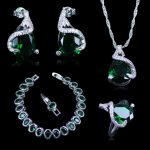 Russian Fashion Nice Design <b>Silver</b> 925 Stamp <b>Silver</b> Color Jewelry <b>Bracelets</b> Sets For Women Green Created Emerald White Zircon