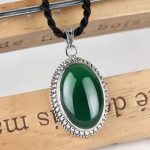 925 Silver Round Pendant Natural Green Stone 100% Pure S925 Solid Thai Silver Pendants for Women <b>Jewelry</b> <b>Making</b>