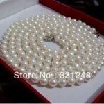 Natural akoya white 6-7mm beautiful pearl round beads diy charms necklace <b>making</b> 36″ long GE1126