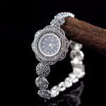 New Limited Romantic Flower <b>Silver</b> Watch Lady S925 <b>Silver</b> Pure Watch Thai <b>Silver</b> <b>Bracelet</b> Thailand Rhinestone Bangle watch