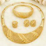 Fashion Italian Bridal <b>Jewelry</b> Costumes Necklace Hoop Earring Gold Women Nigerian Ethiopia <b>Wedding</b> African Bead <b>Jewelry</b> Sets