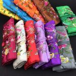 LiiJi Unique 5pcs Fashion Chinese Style <b>Handmade</b> Silk Embroidered <b>Jewelry</b> roll Bags Pouch