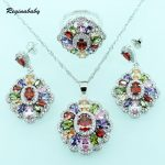 Reginababy 925 logo Multi Jewelry Sets For Women <b>Silver</b> color Overlay Crystal Wedding <b>Bracelet</b>/Necklace/Earrings/Ring/Pendant