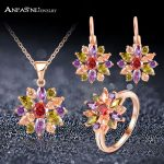 ANFASNI High Quality Rose Gold Color <b>Jewelry</b> Sets For Women With Multicolor AAA Zircon Luxury Elegant <b>Jewelry</b> Gift CST0051