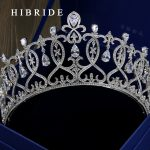 HIBRIDE Top AAA Cubic Zirconia Tiara Crown <b>Wedding</b> Hair <b>Jewelry</b> For Bridal accessories White Gold Color Bridal <b>Jewelry</b> HC00004
