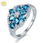 Hutang Natural London Blue Topaz Flower Ring 925 <b>Sterling</b> <b>Silver</b> Gemstone Finger Rings For Trendy Design Women Fine <b>Jewelry</b>