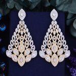 GODKI 75mm Luxury Trendy Peacock Tail Design 2 Tone Mixed Full Mirco Paved Crystal Zircon Naija <b>Wedding</b> Earring Fashion <b>Jewelry</b>