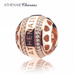 ATHENAIE 925 <b>Silver</b> with Pave Clear CZ Heart by Heart Rose Gold Openwork Charm Beads Fit All European <b>Bracelets</b> Color Rose Gold