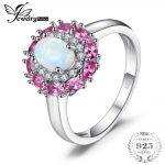 JewelryPalace Fashion 0.96 ct Created White Opal Pink Sapphire Cluster Halo Ring For Women Real 925 Sterling <b>Silver</b> Fine <b>Jewelry</b>