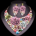 New Beautiful Flower Indian Jewellery sets Bridal <b>Jewelry</b> Sets Rhinestone Party Wedding Costume <b>Necklace</b> Earrings Sets for Woman