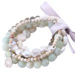 MetJakt Natural Gemstone Mix Howlite+Pearl+Jade+Labradorite 5pcs Handmade Elastic <b>Bracelet</b> with Double Happiness Charm 18-19cm