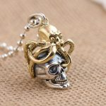 FNJ 925 Silver Skull Pendant 100% Pure S925 Solid Thai Silver Punk Octopus Skeleton Pendants for Men <b>Jewelry</b> <b>Making</b>