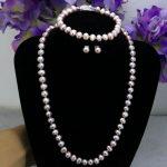 Fish clasp purple pearl necklace sets 7-8mm necklace 18″bracelet 7.5″ earring 2pc/lot women <b>jewelry</b> <b>making</b> design