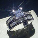 Stunning <b>Handmade</b> Fashion <b>Jewelry</b> Hot 10KT White Gold Filled Princess Cut 5A Zirconia CZ Women Wedding Band Bridal Ring Set Gift