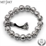 MetJakt Buddhism Mantra <b>Bracelet</b> Solid S925 Sterling <b>Silver</b> Buddha Beads <b>Bracelet</b> for Unisex Vintage Jewelry Stretching 19-23cm