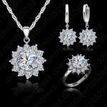 Giemi Valentine Day Gift Sun Flower Cubic Zirconia 925 Sterling <b>Silver</b> Jewelry Sets Earrings Pendant <b>Necklace</b> Rings Size5-9