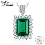 JewelryPalace Luxury 6.5ct Created Emerald Solid 925 Sterling <b>Silver</b> Pendant <b>Jewelry</b> for Women Without The Chain