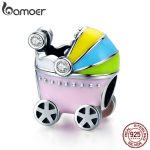 BAMOER 100% 925 Sterling Silver Little Baby Car Baby Carriage Color Enamel Charm Beads fit Girl Charm Bracelet <b>Jewelry</b> SCC505