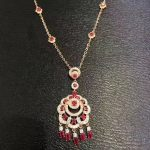 Natural Red ruby stone <b>Necklace</b> Natural Gemstone Pendant <b>Necklace</b> Luxury Chinese style tassel lucky flowers wedding fine Jewelry
