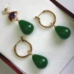 Prett Lovely Women's Wedding simple and decent 12*16mm green gem pendant, earrings sets best gift for lady