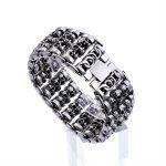 Hot Fashion Punk Cool Men Skeleton Watch Strap <b>Bracelet</b> Retro <b>Silver</b> Black Titanium Steel Wide Retro Skull <b>Bracelets</b> Jewelry