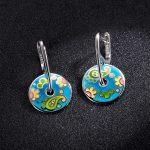 2018 Earrings 925 Sterling <b>Silver</b> for Women Colorful Enamel Sunflower Round shape clip earrings Party Fashion <b>Jewelry</b>