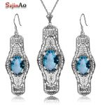 Szjinao Aquamarine Brand New Vintage Jewelry For Women Gift <b>Earrings</b> Pendant 925 Sterling <b>Silver</b> Jewelry Sets Party Accessories