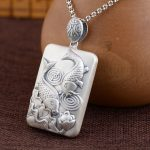 FNJ 925 <b>Silver</b> Square Pendant Double Fishes Lotus Flower 100% Pure S925 Solid Thai <b>Silver</b> Pendants for Women Men <b>Jewelry</b> Making