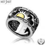 MetJakt Vintage Gents' <b>Jewelry</b> Eagle Wings Sun Totem Ring Solid 925 <b>Sterling</b> <b>Silver</b> Ring for Men Personality Thai <b>Silver</b> <b>Jewelry</b>